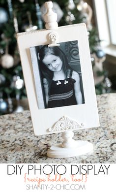 DIY Photo Display by Shanty 2 Chic - great recipe holder, too!