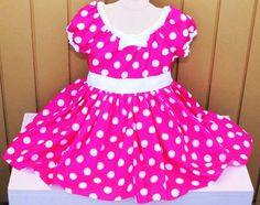 minnie mouse dress party dress in hot pink polka dots super twirly peasant dress costume birthday -f06371.jpg (570×450)