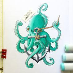 586 отметок «Нравится», 25 комментариев — Lisa Krasnova (cha0tica) (@lisa.krasnova) в Instagram: «Намучалась я с этим осьминогом. Кто хочет повторить мой опыт?)) ‼️ Права на данную иллюстрацию…»