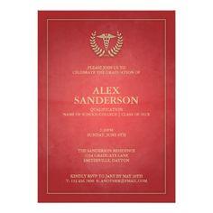 "you've been framed caduceus medical graduation "" x "" invitation, invitation samples"
