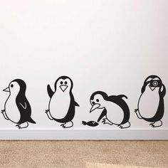 child room Cute Little Penguin Wall Decals Simple Wall Paintings, Creative Wall Painting, Wall Painting Decor, Diy Wand, Art Diy, Diy Wall Art, Wall Murals Bedroom, Bedroom Decor, Bedroom Kids