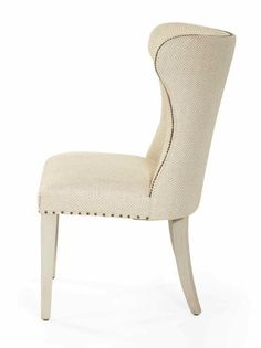 Alabaster finish Upholstered seat with fabric tape and spaced nailhead trim Upholstered inback and outback with nailhead trim on inside back (Assigned fabric: B895) No leather option Exposed wood legs COM Yardage:  3.0
