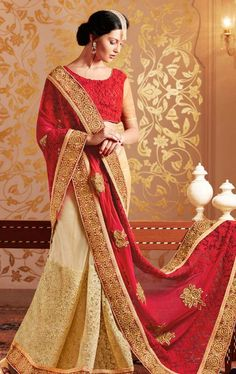 Buy Variation Beige Georgette Designer Saree Online. Shop from wide range of designer Womens wear online at best price on WeddingZ