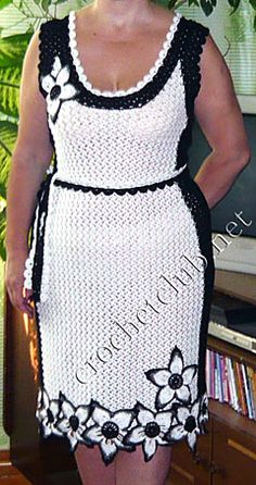 Crochet dress #white #black