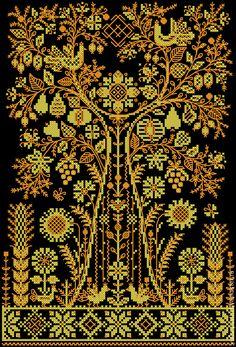 Купить Оберег-Древо Жизни. Схема для вышивания. - желтый, древо, дерево жизни, мировое дерево