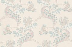 Hartford (88/4018) - Cole & Son Wallpapers - A classical paisley style damask in a light taupe with shades of blue and pink metallic delicate surface printing. Please request sample for true colour match.