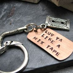 Luv Ya Like A Mix Tape Key Chain Hand, Stamped Copper, Cassette charm, makes a great gift, valentine gift
