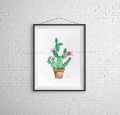 Aquarela - Cactus - digital - Feito a mão