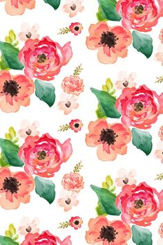 Floral Dreams White by shopcabin - Hand painted pink and peach flowers on fabric, wallpaper, and gift wrap. Beautiful hand painted watercolor flowers with a painterly feel. Flowing flowers and green leaves. Cute Wallpapers, Wallpaper Backgrounds, Iphone Wallpaper, Fabric Wallpaper, Watercolor Background, Watercolor Flowers, Watercolor Wallpaper, Colorfull Wallpaper, Floral Crib Sheet