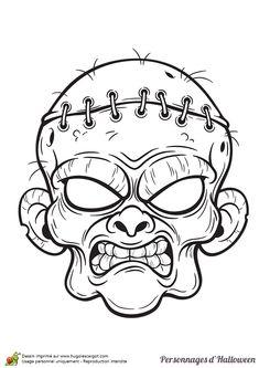 L'effrayante tête de Frankenstein à colorier