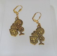 Gold New Orleans Saints Football Guy Hypo Allergenic Earrings by tbyrddesigns on Etsy
