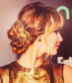 Braided updo with bangs and its Jennifer Lawrence! Wish I could do this daily for work. #wedding #hair #bridal