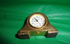 "Vintage Times Square Mini Mantle Desk Clock Gold Tone 1"" tall find me at www.dandeepop.com"