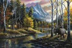 "Western Landscape Limited Edition Print - ""Living The Dream"" #cabindecor #homedecor #rustic #painting #originalart #limitededition #print #artprint #elk #cabin #mountains #westernart"