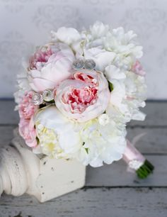 fake peonies for weddings | Silk Bride Bouquet Peony Peonies Shabby Chic by braggingbags, $125.00
