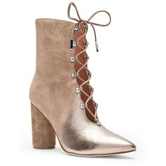 Sigerson Morrison Knight Bootie featuring polyvore, women's fashion, shoes, boots, ankle booties, short lace up boots, bootie boots, high heel bootie, high heel booties and lace up boots