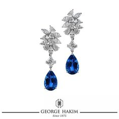 Accent your ears elegantly with spectacular sparkle thanks to these dazzling #Diamond and royal blue #Sapphire #Earrings by #GeorgeHakim. #140PreciousYears  www.georgehakim.com