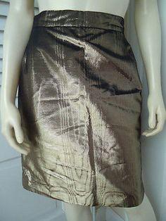 KRIZIA FOR HENRI BENDEL Skirt 44 Gold Moire Cotton Rayon Metallic Vintage Italy