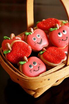 Back-to-School Mini Apple Cookies. {by navygreen, via Flickr} #apple #cookies #school