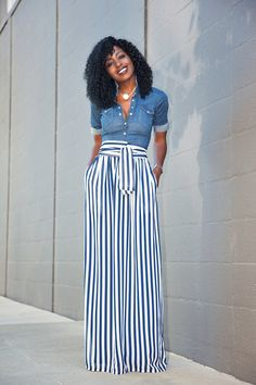 Style Pantry | Fitted Denim Shirt + Striped Maxi Skirt