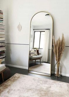 4 Great Ways to Make Small Bedroom Design Organized and Look Spacious - There are always smart ways to transform your small bedroom design into a bigger and tidier room, so you don't have to see your stuff scattered everywhere. Design Living Room, Living Room Decor, Bedroom Decor, Living Room With Mirror, Full Length Mirror Living Room, Cheap Full Length Mirror, Bedroom Mirrors, Condo Bedroom, Mirror Room