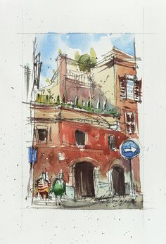 View: Trastevere, Rome-Ink and Watercolor on paper, 2020 | Artfinder Paper Tags, Urban Sketching, My Works, Marines, Watercolour, Rome, My Photos, Original Art, Ink
