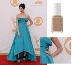 Mad Men star Jessica Parè paired essie's 'brooch the subject' with her Oscar de la Renta gown.