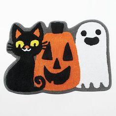 Halloween Ghost, Pumpkin & Cat Bath Rug