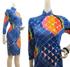 Vintage 70s Dress Psychedelic Op Art Polyester by voguevintage