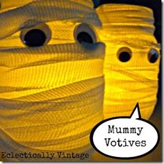 Make these adorable mummy votive candleholders for Halloween! eclecticallyvintage.com