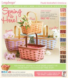 Our spring basket comes in 13 colors check it out on wed 3/20/13 @ Noon Click on my link to order at www.longaberger.com/mariaammar