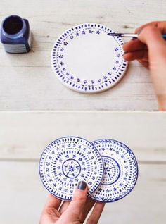 Diy Crafts - Poppytalk: 9 Weekend Projects to Try - DIY Coasters Make these pretty coasters out of polymer clay and porcelain paint. From The Lovely Weekend Projects, Projects To Try, Weekend Jobs, Weekend Weather, Weekend Events, Clay Crafts, Arts And Crafts, Stencil Fabric, Pottery Painting Designs