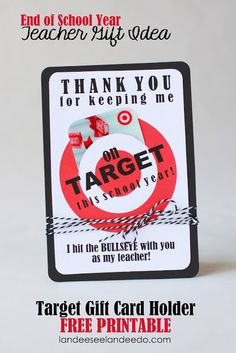 Landee See, Landee Do: Teacher Gift Idea: Printable Target Gift Card Holder