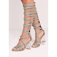 Missguided Perspex Heel Knee High Strappy Gladiators ($36) ❤ liked on Polyvore featuring shoes, sandals, grey, gray gladiator sandals, high heel shoes, gray sandals, grey sandals and heeled sandals