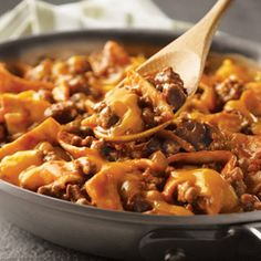 Beef Taco Skillet1 pound ground beef       1 can Tomato Soup    1/2 cup PacePicante        1/2 cup water       6 flour tortillas cut into 1-in pieces      1/2 cup shredded cheese.Cook the beef until well browned.Pour off fat. Stir the soup, picante sauce, water and tortillas in the skillet and heat to a boil.   Reduce the heat to low.  Cook for 5 minutes.Stir the beef mixture.Top with the cheese.