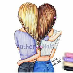 Bff bff drawings, best friend drawings και drawings of friends. Bff Drawings, Pretty Drawings, Beautiful Drawings, Easy Hair Drawings, Cute Best Friend Drawings, Drawings Of People, Best Friend Pictures, Bff Pictures, Pictures To Draw