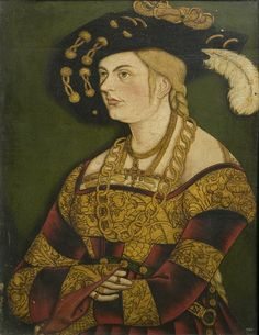 Portrait of a lady in black with a feathered hat 1530
