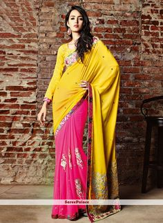 Yellow And Rose Pink Shaded Georgette Half And Half Saree