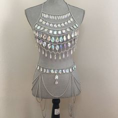Sliver crop Top burning man outfit /Body chain necklace, Rave body chain Rave wear Tribal Necklace, Chain necklace by JrPastiesLove on Etsy https://www.etsy.com/listing/268989052/sliver-crop-top-burning-man-outfit-body