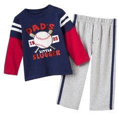 Lil Daddy's Slugger Set Size mths, 2 - 6 yrs Per Set Boys Suit Sets, Boys Suits, Trouser Suits, Trousers, Long Sleeve Pyjamas, Baby Boy Outfits, Outfit Sets, Toddler Boys, Kids Fashion