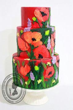 Buttercream used to paint cake, beautiful!