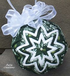 3-inch Quilted Ornament - Hunter Green Fabric w/White Snowflakes and White Gauze Bow by ana9112