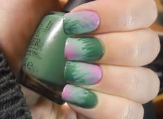 I was requested to do a tutorial for these tie-dye nails, so I quickly recreated a manicure with the same method. The video is really ba. Heart Nail Designs, White Nail Designs, Acrylic Nail Designs, Green Nails, Pink Nails, Fancy Nails, Gorgeous Nails, Pretty Nails, Tie Dye Nails