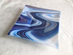 Fused glass plate 12 wide. Perfect for Christmas!    More colors available; message me for more details.