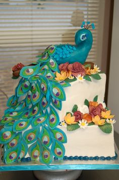 Peacock birthday cake by Cake is the Best Part, Redding ...