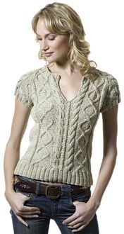 cable stitch form fitting t with a split neckline and cap sleeves...free pattern