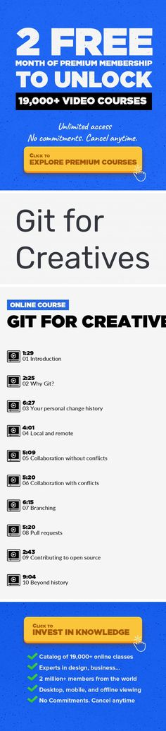 Git for Creatives Technology, Engineering, Git, Linux, Software, Product Management, Github #onlinecourses #CoursesBudget #onlinetrainingcourses    An introduction to git for Creatives. If you've ever had issues with documents piling up, ending up with crazy names or losing some changes, this is for you. Git is a core tool of the Software Development toolchain but there are a lot of people out the...