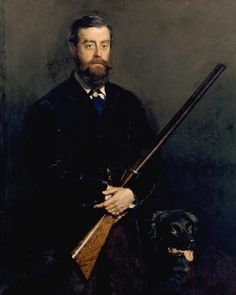 ANTONY GIBBS (1841-1907), a portrait with his hunting dog and gun