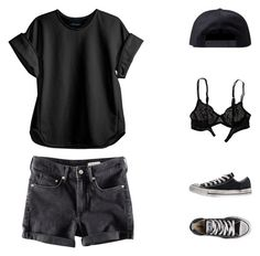 """""""Marne Bouy"""" by virty8 ❤ liked on Polyvore featuring H&M, Cynthia Rowley, Converse, Black Scale, American Eagle Outfitters, black, denim, shorts and virtyfashion"""