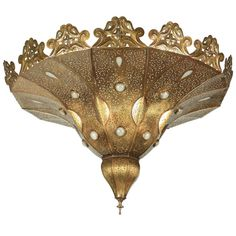 Moroccan Brass Chandelier in Alberto Pinto Style | 1stdibs.com